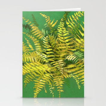 Golden Fern, floral art, green and yellow Stationery Cards by Clipso-Callipso