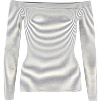 River Island Womens Cream stripe fitted bardot top
