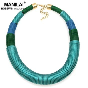 MANILAI New Design Fashion Handmade Yarn Simple Chunky Necklace Choker Big Jewelry Wide Collar Statement Necklaces CE4113
