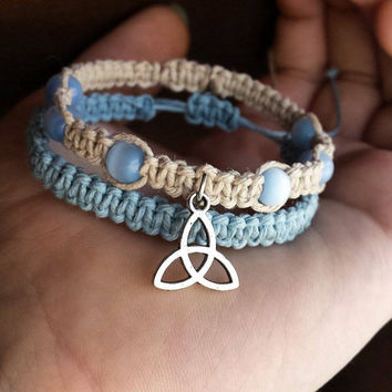 Trinity Bracelet, Stackable Hemp Bracelets, Pastel Blue, Cats Eye Beaded Macrame Bracelet Trinity Knot Jewelry