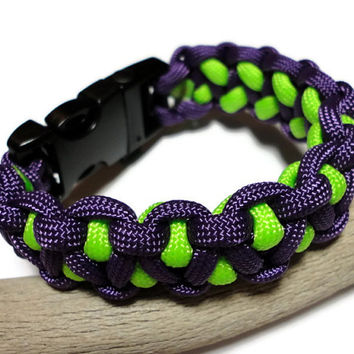 Paracord Survival Bracelet Purple Neon Green Dragons Tooth Weave Handmade USA Men Ladies Unisex Built in Whistle on Buckle