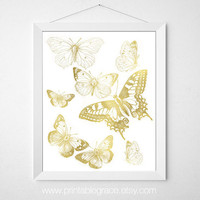 Vintage Butterflies - Digital Print - 8 x 10 - gold Butterflies - Printable Wall Art - Instant Download