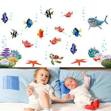 Finding Nemo Under Sea Shark Fish Cartoon Bathroom Wall Stickers For Kids Rooms Nursery bedroom quarto Decor poster Decals