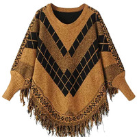 Yellow Chunky Jacquard Bat Sleeve Tassel Cape Sweater