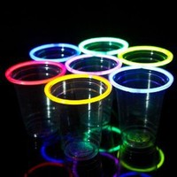 24 Glow Stick Party Cups, 16-18 Oz. (6 Color Mix)