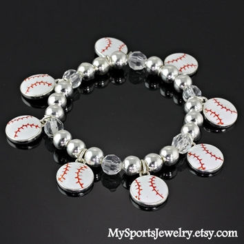 Stretchy Baseball Charm Bracelet by MySportsJewelry on Etsy