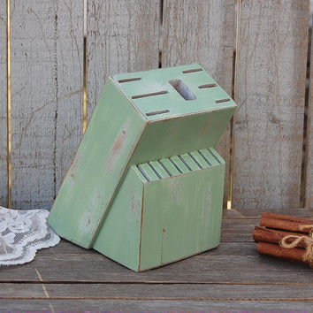 Sage green knife block