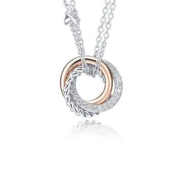 925 Sterling Silver Rose Gold Plated Cubic Zirconia Love Knot Round Pedant Necklaces (Length: 50cm)