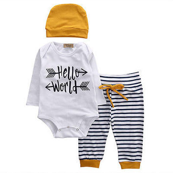 Newborn Baby Girls Boy Hello World Romper + Striped Pants +Hat 3pcs suit baby  boy clot 3d2ff20aa312