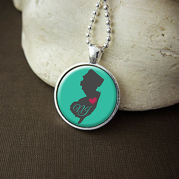 New Jersey State Necklace, Love New Jersey Pendant, US NJ State Pendant Necklace Jewelry