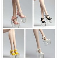 Handmade barbie Doll shoes High heels Transparent high waterproof shoes/Doll accessories/4 color optional