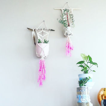 Boho Decor~ Pink Macrame Plant Hanger~ Hanging Planter~ Home Decor~ Nursery Decor~ Kitchen Decor~ Rustic Decor~ Bedroom Decor~ Gift for Her