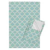 Orpington Tea Towels featuring fish_scales_seafoam_small by holli_zollinger