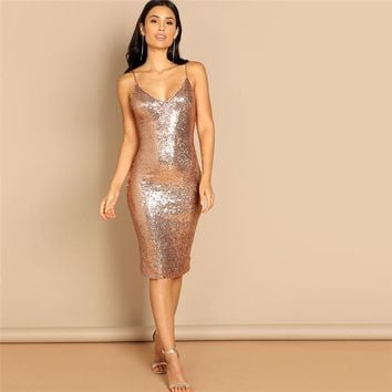 Going Out Pink Sequin Cami Spaghetti Strap Knee Length Corset Sheath Dress Elegant Women Modern Lady Dresses
