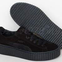 ONETOW NEW PUMA FENTY RIHANNA CREEPERS SUEDE BLACK LEATHER WOMEN'S SHOES ALL SIZES