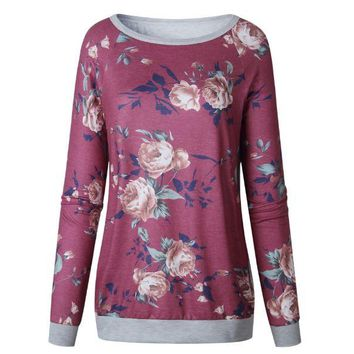 Red Long-sleeved Floral Printed T-Shirt