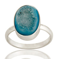 Natural Druzy Agate Oval Shape Genuine Sterling Silver Ring