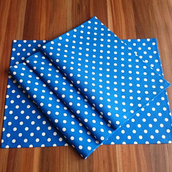 New! 13x18'' Set of 4 Royal Blue Polka Dot Placemats, Handmade Placemats, Table Decor, Dining Placemats, Waterproof Placemats