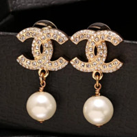 New fashion diamond pearl long earring women Golden