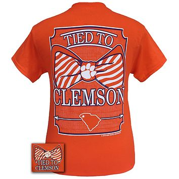 South Carolina Clemson Tigers Tied to State Bow Girlie Bright T Shirt