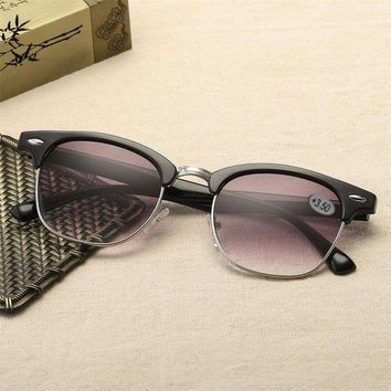 Half Frame Gradually Gray Presbyopia Sunglasses Fashion Hyperopia Reading Sunglasses Magnifying Glasses  +1.0 +1.5 To +3.5