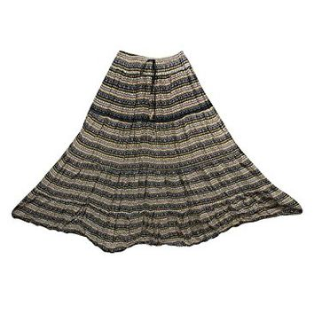 Womens Boho Long Skirt Printed Cotton Broomstick Flare Gypsy Retro Maxi Skirts: Amazon.ca: Clothing & Accessories