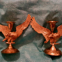A Set of Two Unique Vintage Brass Eagle Figurine Candle Stick Holders