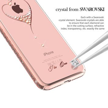 iPhone 8 Plus Case,iPhone 7 Plus Case from Kingxbar ,Bling Diamond Crystals from SWAROVSKI Element Hard PC Transparent Sparkly Cover for Apple iPhone 8 Plus / iPhone 7 Plus
