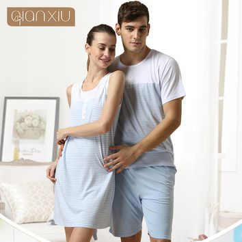 Qianxiu Pajamas For Men Summer  Stripes Cotton Pajama set  Short sleeve shorts Lounge Wear