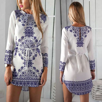 Women's Floral Print Dress Long Sleeve Casual Boho Summer Beach Outfits Sexy Sundress vestidos de festa
