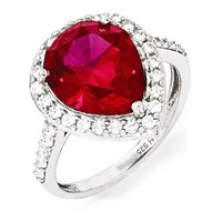 Cheryl M Sterling Silver Created Ruby Pear & CZ Halo Ring