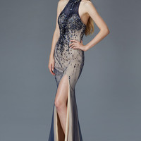 G2147 Beaded Tulle Halter Prom Dress Evening Gown