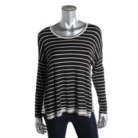 Red Haute Womens Knit Striped Pullover Top