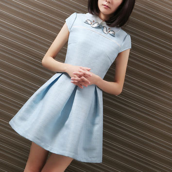 Grace Style Skater Dress For Women High Waist Mini Dress Simple Embroider Doll Collar Plain Dress
