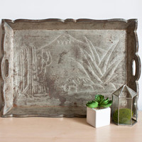 Vintage Mexican Industrial Style Tray, Rustic Hand Hammered Southwestern Design on Aged Tin