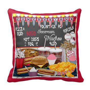Concessions, Red-Square Throw Pillow