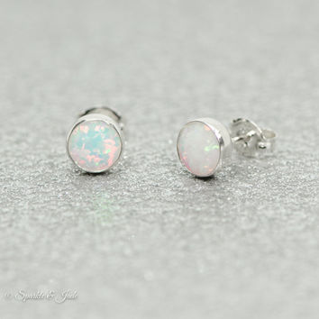 Sterling Silver 6.5mm Round White Opal Bezel Set Earrings