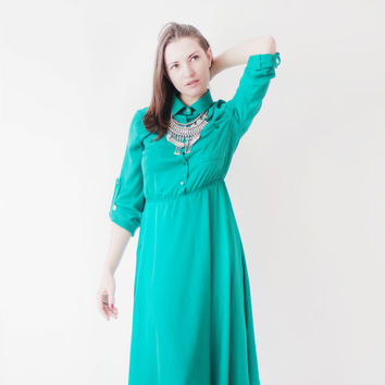 Lu green dress\shirt dress\day dress\summer woman dress\long sleeve dress\wide skirt dress\middle length dress\cocktail dress