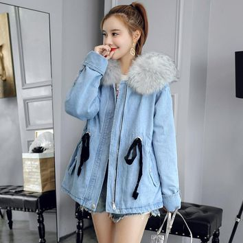 Denim jacket with fur for women blue autumn winter fashion 2018 warm jeans jacket fur female ladies faux fur coat DD1731 S