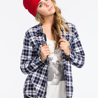 Young & Reckless Womens Flannel Shirt Navy/White  In Sizes