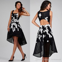 vestido de festa black cocktail dresses 2017 high low appliques lace sequin coctail dress for prom party robe de soiree