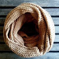 Knitted Scarf, Unisex, Scarf,Neck Warmer,Camel Color, Long Scarf,Men's Scarf,Women Scarf Knitting Scarf Loop Scarf Infinity Scarf,Gift Ideas