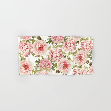 old fashioned peonies Hand & Bath Towel by Sylvia Cook Photography