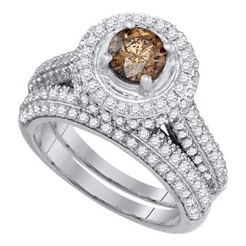 14kt White Gold Womens Round Cognac-brown Color Enhanced Diamond Halo Bridal Wedding Engagement Ring Band Set 2-1/12 Cttw