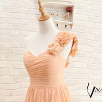 2014 Prom Dress Elegant Formal One Shoulde With Handmade Flower Lace Up Back Long Chiffon Salmon Pink Bridesmaid Dress Wedding Party Dresses