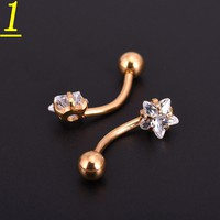 20pcs Gold Body Piercing Star Zircon Cubic Bar Barbell Ball Navel Belly Button Rings Jewelry