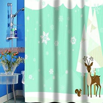 Merry Christmas Bathroom Wish Collection Holiday Fabric Shower Curtain (70 inch  x 72 inch ) - Friendly Winter Forest