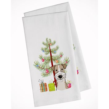 Christmas Tree and Wire Haired Fox Terrier White Kitchen Towel Set of 2 BB1619WTKT
