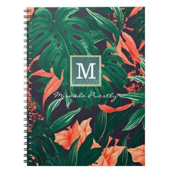 Elegant Tropical Floral Modern Gold Frame Monogram Spiral Notebook