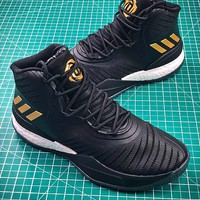 Adidas D Rose 8 Black Gold Boost Basketball Shoes - Best Online Sale